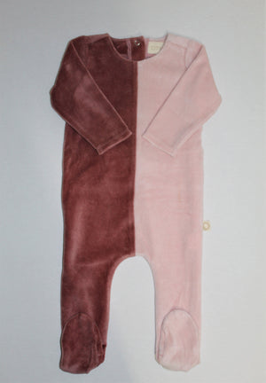 Baby Footie | Citrine | 2 Color Velour | Dark Mauve