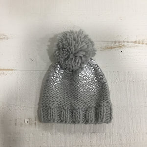 chunky knit baby winter hat. Metallic grey with silver