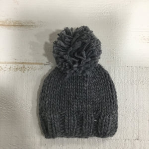 chunky knit winter hat for newborn- Grey single pompom