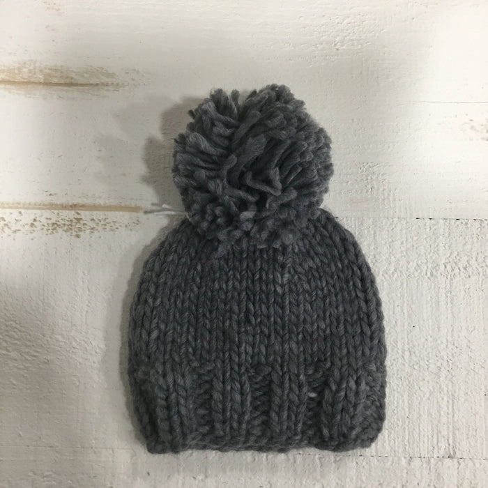 Chunky Knit Winter Hat | The Blueberry Hill | Single Pom Grey
