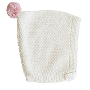 Cotton Knit Pom Pom Pixie Hat | Alimrose | 3 Colors Available