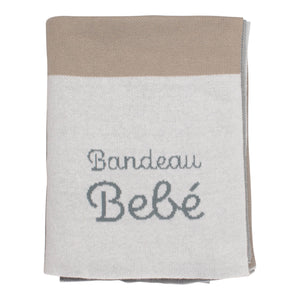 Knit Blanket | Blue And Taupe | Bandeau Bebe