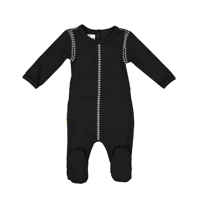 Baby Footie | Ribbed Stitched | Black | Maniere