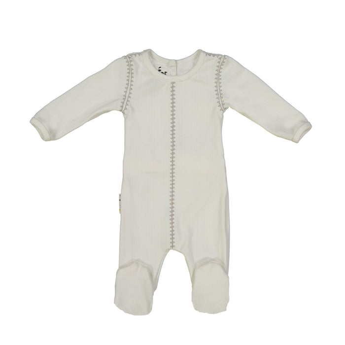 Baby Footie | Ribbed Stitched | White | Maniere
