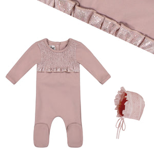 Layette Set | Maniere | Sparkle Smocked | Soft Pink