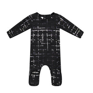 Baby Footie | Metallic Abstract | Black | Maniere
