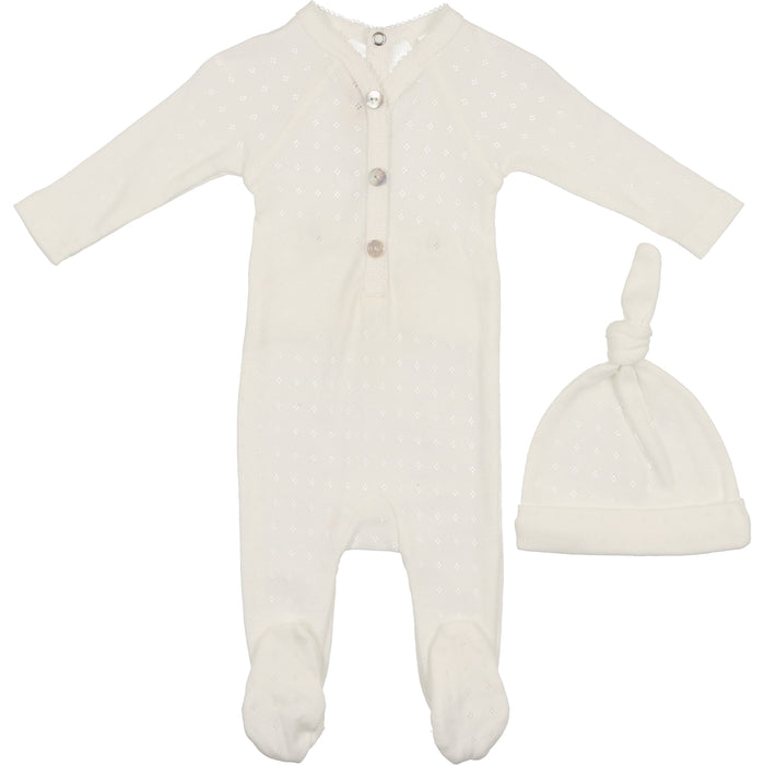 Baby Footie & Bonnet | Mon Tresor SS21 | Sweet Diamonds | Ivory