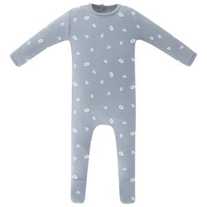 Baby Boy Footie+Bonnet | Leaf | Misty Blue | Ely's & Co SS21