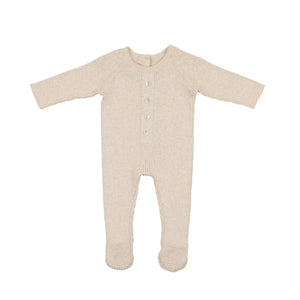 Button Knit Footie | Maniere | Sand