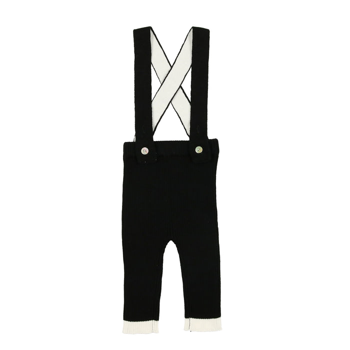 Boys Knit Overall & Shirt | Maniere | Black and Ivory
