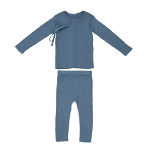 Mock Kimono Knit Set | Maniere | Heather Blue