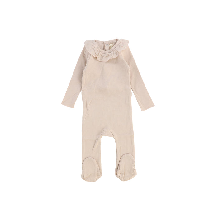 Baby Footie | Lil Legs | Ruffle Collar - Nude Pink