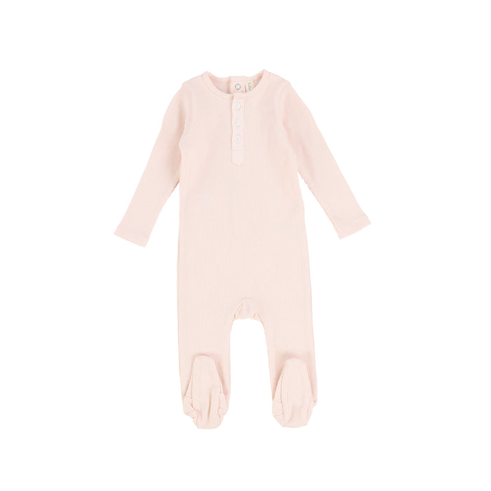 SS21 | Lil Legs | Ribbed Classic Henley Set | Pale Pink
