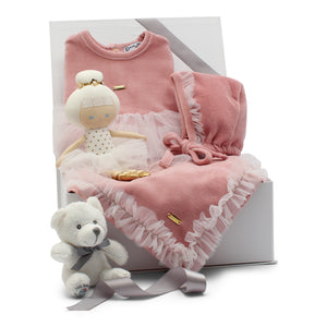 Pink velour baby gift set, ballerina footie, bonnet, blanket and ballerina doll