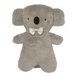 Grey plush koala doll blue dot bow tie