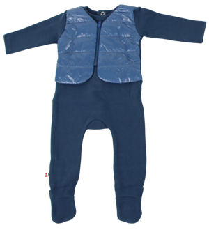 Puffer Vest Footie | Blinq | Blue
