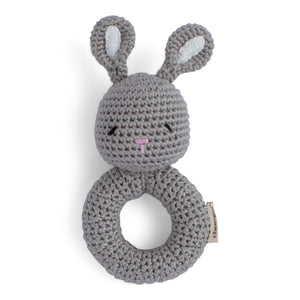 Grey bunny, crocheted rattle.