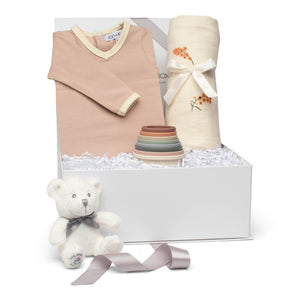 Baby girl gift set old rose cotton footie with muslin swaddle & silicone bath toy stacking cups