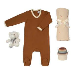Baby boy gift set toffe brown cotton footie muslin swaddle &silicone bath toy stacking cups