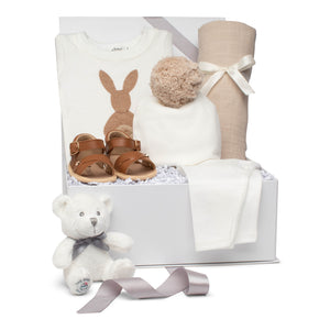 Baby boy gift set cream & brown cotton outfit with pompom hat swaddle and leather sandals