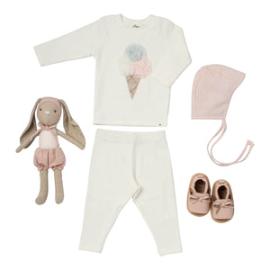 Baby girl gift cotton cream colored outfit ice cream applique pink hat