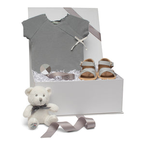 Baby  gift set blue grey roper grey leather sandals pacy clip