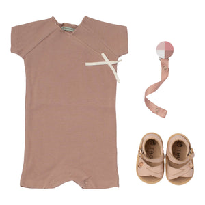 Baby gift rose romper pink leather sandals and pacy clip