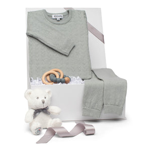 Baby boy gift set old green cotton pointelle knit long sleeve outfit & beechwood teether