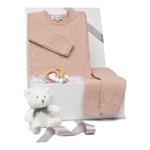 Baby girl gift set old rose cotton pointelle knit long sleeve outfit & beechwood teether