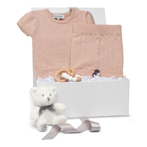 Baby girl gift set old rose cotton pointelle knit short sleeve outfit & beechwood teether