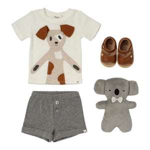 Baby boy gift cream shirt with dog applique grey pants koala teddy bear brown leather sandals