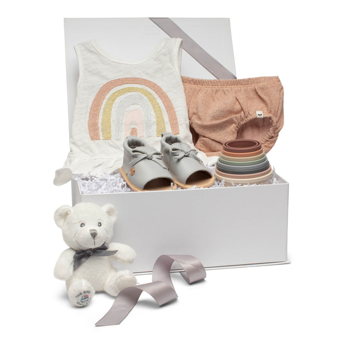 SS20 Baby Gift Set | Rainbow Ruffles | Rose Gold Stardust