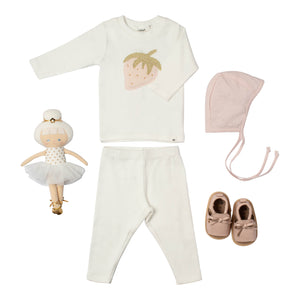 Baby girl gift cotton cream colored outfit strawberry applique pink hat