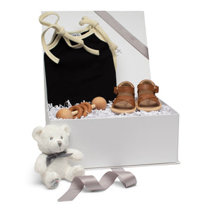 Baby gift set black romper brown leather sandals wood stick rattle