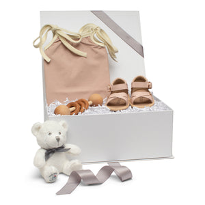 Baby gift set old rose romper and leather sandals wood stick rattle