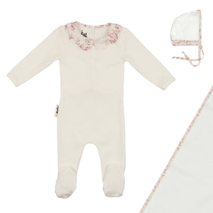 Baby Girl Footie+Bonnet | Scalloped Collar | White/Blush | Maniere SS21
