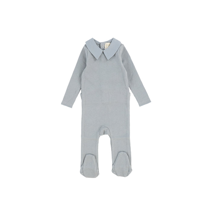 Baby Footie | Lil Legs | Elegant Collar - Soft Blue