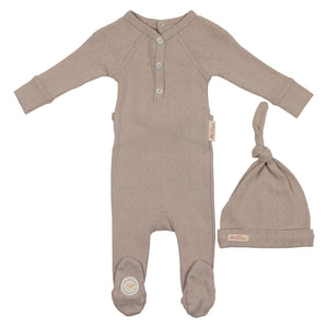Baby Footie & Bonnet | Mon Tresor SS21 | Sweet Diamonds | Taupe