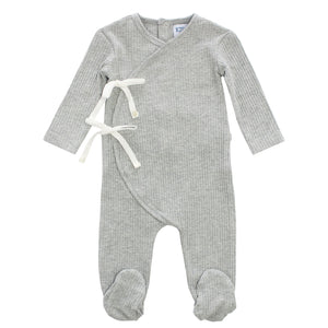 Baby Boy Footie | Rib Bow Wrap | Grey | Kipp SS21