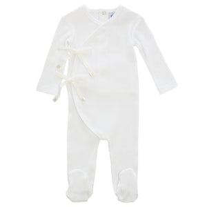 Baby Footie+Bonnet | Rib Bow Wrap | White | Kipp SS21