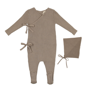 Baby Boy Footie+Bonnet | Knit Wrap Bow | Cement | Mema Knits SS21