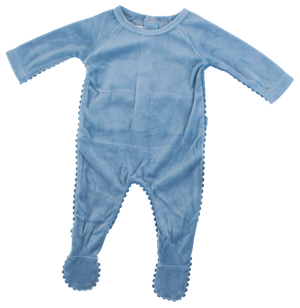 Velour Pompom Trim Footie | Blinq | Ocean Blue