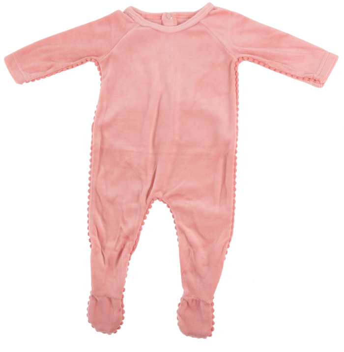 Velour Pompom Trim Footie | Blinq | Rose