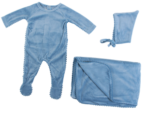 Velour Pompom Trim Set | Blinq | Ocean Blue
