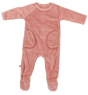 Velvet Trim Footie | Blinq | Deep Pink