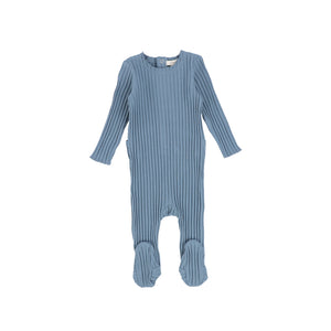 SS21 | Lil Legs | Footie+Bonnet | Wide Ribbed | Very Blue