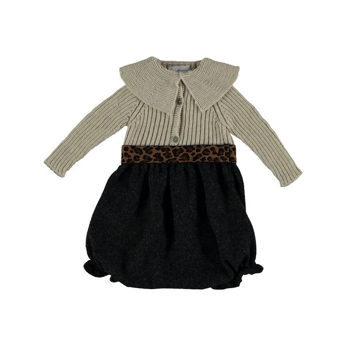 Two Toned Knit Bloomer Romper | Violeta E Federico | Black/ Bone