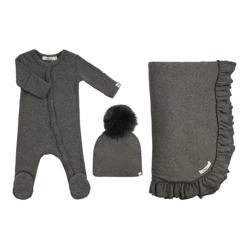 Layette Collection | 3 Piece Ruffle Set | Oh Baby! | Charcoal