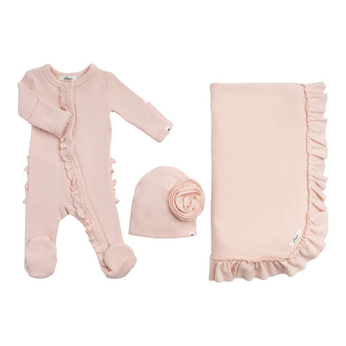 Layette Collection | 3 Piece Ruffle Set | Oh Baby! | Pink