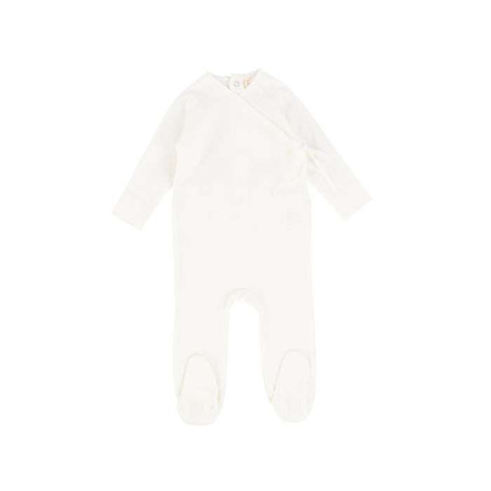 SS21 | Lil Legs | Footie+Beanie | Brushed Cotton Wrapover | White
